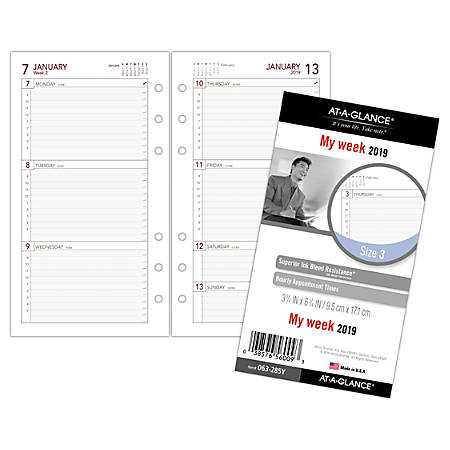 "AT-A-GLANCE® Day Runner® Weekly Planner Refill, 3 3/4"" x 6 3/4"", January to December 2019"
