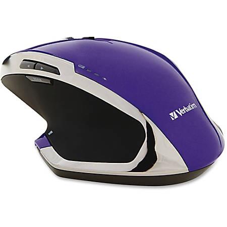 Verbatim® Wireless USB Desktop 8-Button Deluxe Blue LED Mouse, Purple
