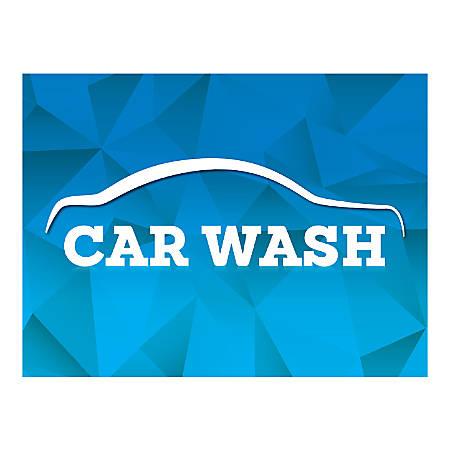 Plastic Sign, Car Wash Blue, Horizontal