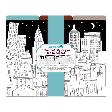 Barker Creek File Folders, Letter Size, Color Me! Cityscapes, Pack Of 12