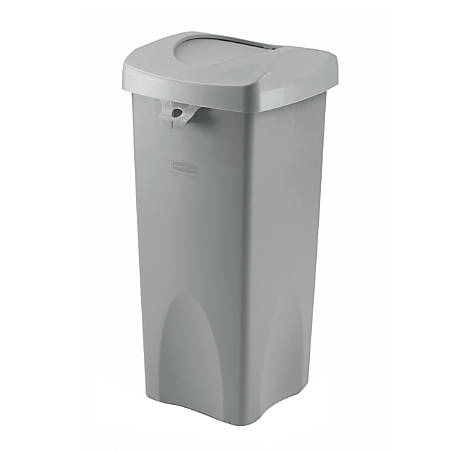 Rubbermaid® Plastic Trash Receptacle, Untouchable, Square, 23 Gallons, Gray