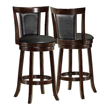 """Monarch Specialties Wood Bar Stools, 43""""H, Black/Cappuccino, Set Of 2 Stools"""