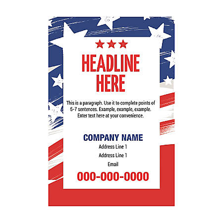 Adhesive Sign Template, Vertical, Grunge Textured Flag
