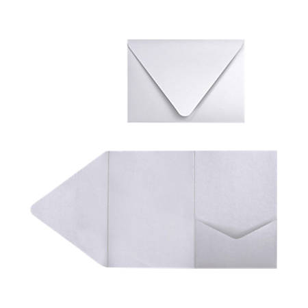 """LUX Pocket Invitations, A7, 5"""" x 7"""", Silver Metallic, Pack Of 30"""