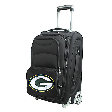 "Denco Nylon Expandable Upright Rolling Carry-On Luggage, 21""H x 13""W x 9""D, Green Bay Packers, Black"