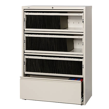 Lorell® Fortress Series 36''W 4-Drawer Steel Lateral File Cabinet, With Roll-Out Shelves, Putty