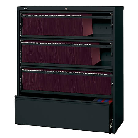 Lorell® Fortress Series 42''W 4-Drawer Steel Lateral File Cabinet, With Roll-Out Shelves, Black