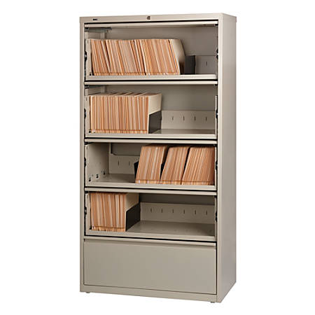 Lorell® Fortress Series 36''W 5-Drawer Steel Lateral File Cabinet, With Roll-Out Shelves, Putty