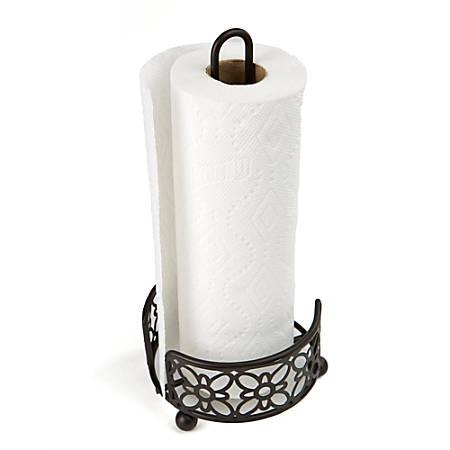 Mind Reader Freestanding Metal Paper Towel Holder, Black