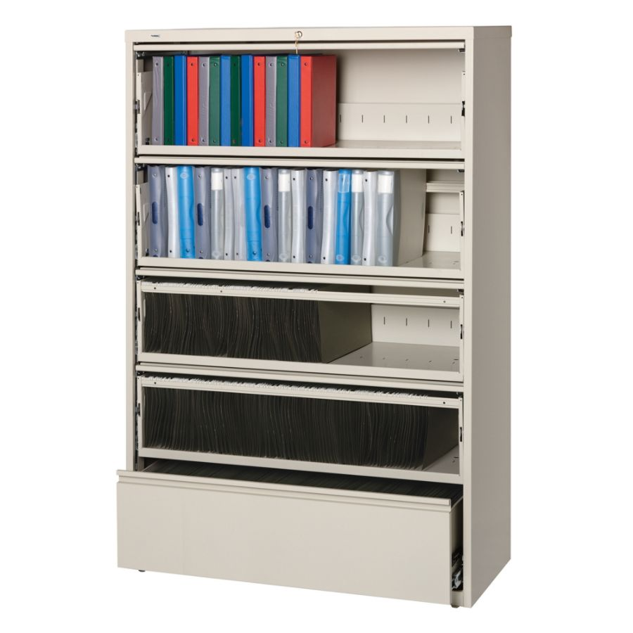 lorell fortress series 42w 5 drawer steel lateral file cabinet with lateral file cabinet with shelves
