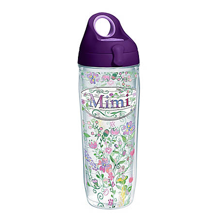 Tervis Mimi Floral Water Bottle With Lid, 24 Oz, Clear