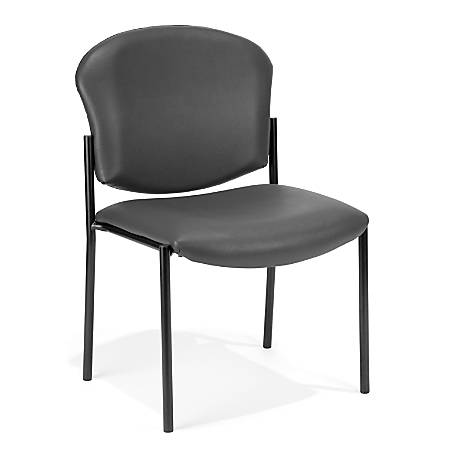 OFM Manor Series Anti-Microbial Anti-Bacterial Guest Reception Chair, Charcoal/Black