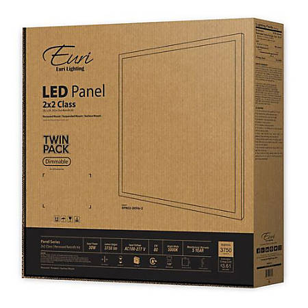 Euri Indoor LED Flat-Panel Fixtures, 2' x 2', 3750 Lumen, 30 Watts, 5000 Kelvin/Daylight, Pack Of 2 Fixtures