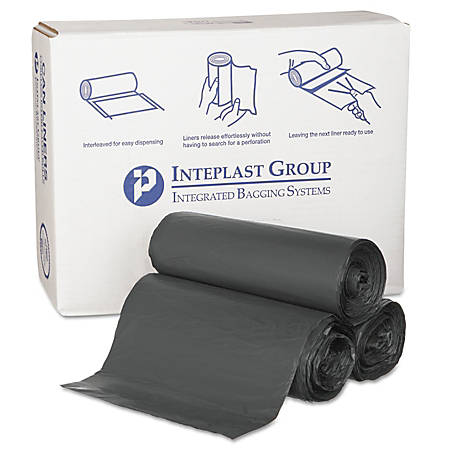 Inteplast Group 22-Mic Interleaved High-Density Can Liners, 55 Gallons, Black, Pack Of 150 Liners