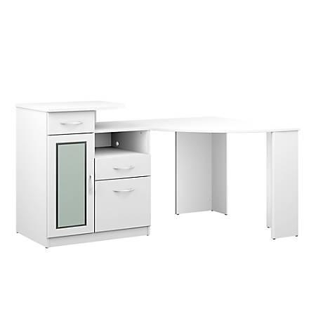 Bush Furniture Vantage Corner Desk, Pure White, Standard Delivery