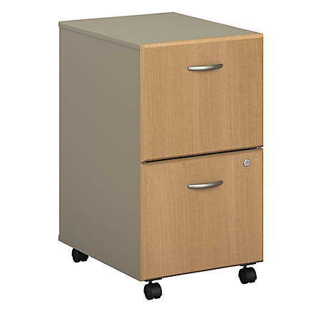Bush Business Furniture Office Advantage 2 Drawer Mobile File Cabinet, Light Oak/Sage, Standard Delivery