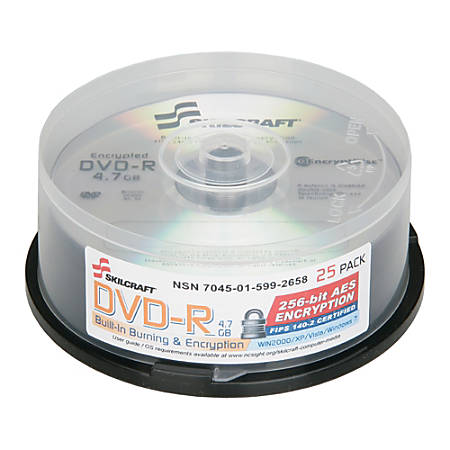SKILCRAFT® Built-In Burning and Encryption DVD-R Recordable Media With Spindle, 700MB/120 Minutes, Pack Of 25