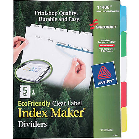 SKILCRAFT® Index Maker Clear Label Dividers With Color Tabs, 5-Tab (AbilityOne 7530-01-434-4198)