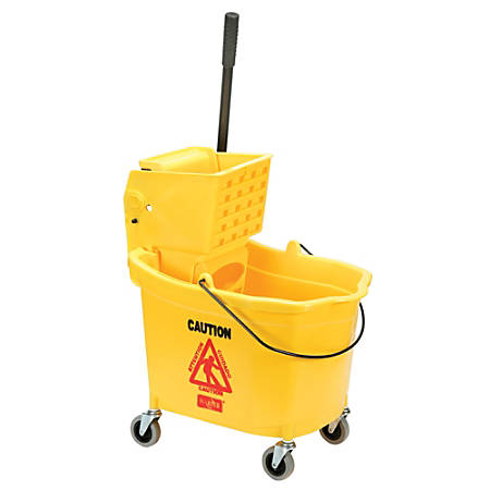 "SKILCRAFT® Wet Mop/Bucked And Wringer Combo, 15 1/4"" x 21"" x 36 1/2"", Yellow"