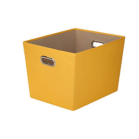 """Honey-Can-Do Large Decorative Storage Bin With Handles, 18 3/4""""L x 14 3/8""""W x 12 5/8""""H, Yellow"""