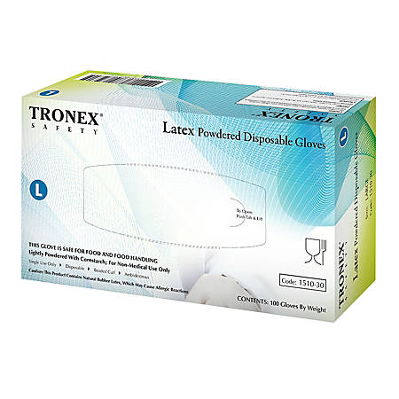 Tronex Disposable Powered Latex Gloves, Large, Natural, Pack Of 100 Gloves
