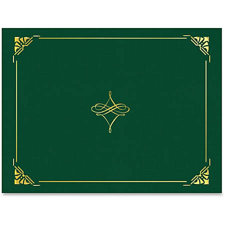 """Geographics Gold Foil Border Certificate Holder - Letter - 8 1/2"""" x 11"""" Sheet Size - Hunter Green, Gold - Recycled - 5 / Pack"""
