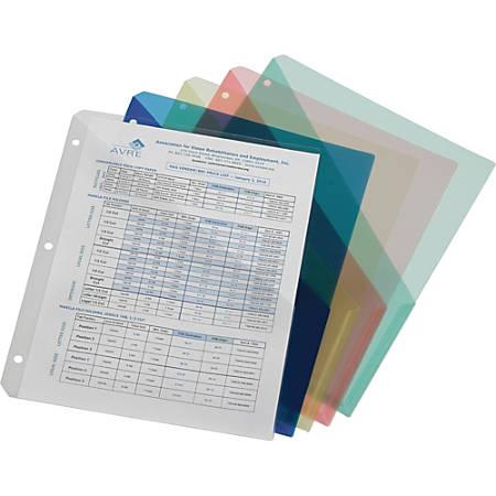 "SKILCRAFT 3-ring Slash Pocket Asst. File Jackets - Letter - 8 1/2"" x 11"" Sheet Size - Polypropylene - Yellow, Clear, Pink, Blue, Green - 5 / Pack"