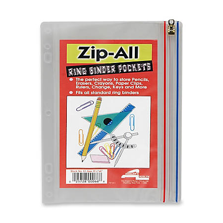 "Anglers Zip-All Ring Binder Pocket, 8"" x 10 1/2"", Clear"