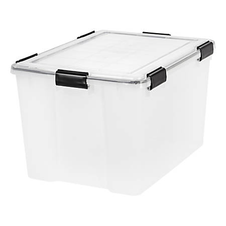 "IRIS WEATHERTIGHT Storage Box, 74-Quart, 14-1/2"" x 17-3/4"" x 23-5/8"", Clear"