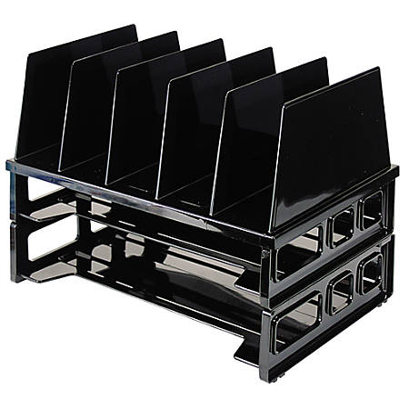 """OIC® Tray/Sorter Combo, Letter Size, 10 1/4""""H x 13 1/2""""W x 9""""D, Black"""