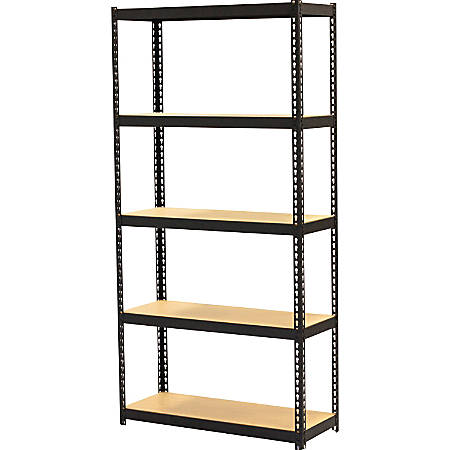 "Lorell Narrow Steel Shelving - 60"" Height x 30"" Width x 12"" Depth - Recycled - Black - Steel - 1Each"