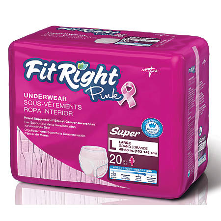 "FitRight Protective Underwear, National Breast Cancer Foundation, Large, 40 - 56"", Pink, Bag Of 20"