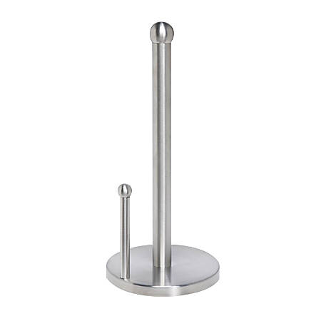 "Honey-Can-Do Paper Towel Holder, 14""H x 6 1/8""W x 6 1/8""D, Stainless Steel"
