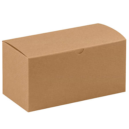 """Office Depot® Brand Gift Boxes, 9""""L x 4 1/2""""W x 4 1/2""""H, 100% Recycled, Kraft, Case Of 100"""
