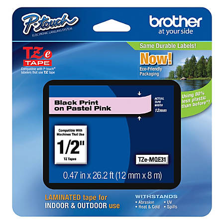 """Brother PTouch Laminated TZe Tape, 0.47"""" x 26.2', Pink"""