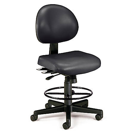 OFM 24-Hour Anti-Microbial Computer Task Chair With Drafting Kit, Black
