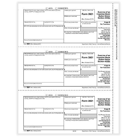 """ComplyRight™ 3921 Laser Tax Forms, Copy D, 8-1/2"""" x 11"""", Pack Of 50 Forms"""