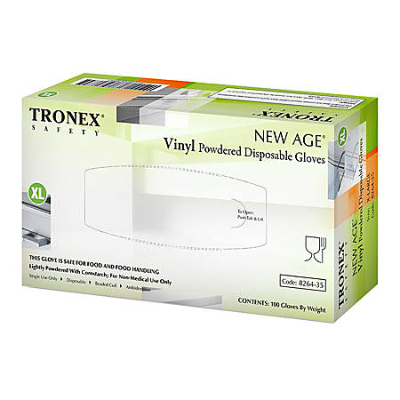 Tronex New Age Disposable Powdered Vinyl Gloves, X-Large, Natural, Pack Of 100 Gloves
