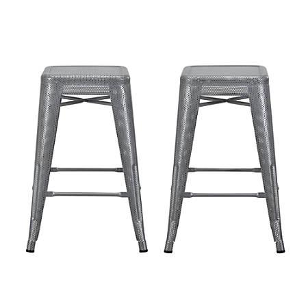 DHP Nova Metal Mesh Backless Counter Stool, Silver