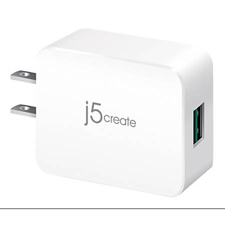 j5create Quick Charge 3.0 USB Charger, Gray/White, JUP11