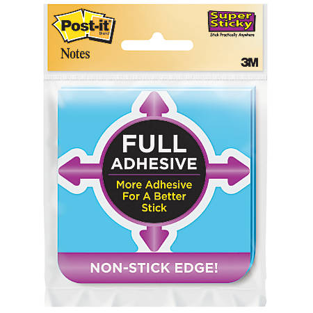 """Post it® Super Sticky Full Stick Notes, 3"""" x 3"""", Assorted Colors, Pack Of 2 Pads"""