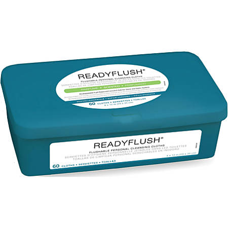 "ReadyFlush Flushable Wipes, Scented, 8"" x 12"", White, 60 Wipes Per Box, Case Of 9 Packs"