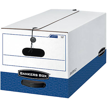 """Bankers Box® Liberty® FastFold™ 60% Recycled Storage Boxes, 24"""" x 12"""" x 10"""", Letter, White/Blue, Pack Of 4"""