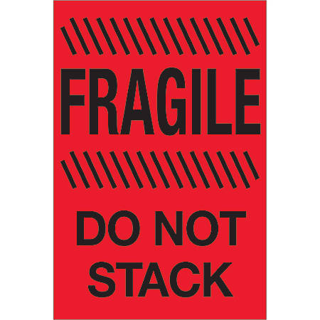 "Tape Logic® Preprinted Special Handling Labels, DL1192, Fragile Do Not Stack, Rectangle, 4"" x 6"", Fluorescent Red, Roll Of 500"