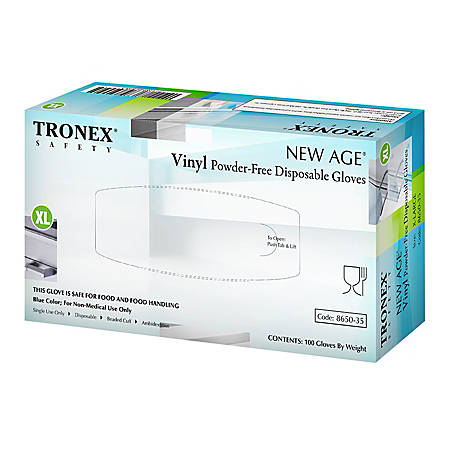Tronex New Age Disposable Powder-Free Vinyl Gloves, X-Large, Blue, Pack Of 1,000 Gloves