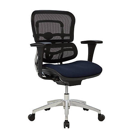 WorkPro® 12000 Ergonomic Mesh/Fabric Managerial Mid-Back Chair, Navy Blue/Black/Chrome