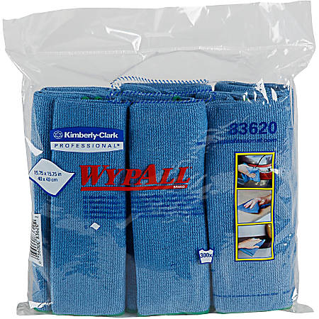 "Wypall Microfiber Cloths - Cloth - 15.75"" Width x 15.75"" Length - 24 / Carton - Blue"