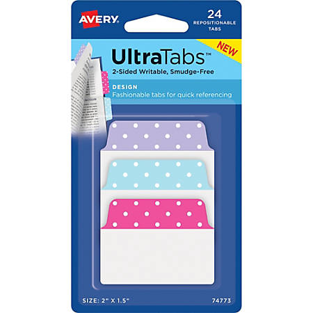 "Avery® Multiuse Design Ultra Tabs - Write-on Tab(s) - 2.50"" Tab Height x 2"" Tab Width - Self-adhesive - Blue, Pink, Purple Tab(s) - 24 / Pack"
