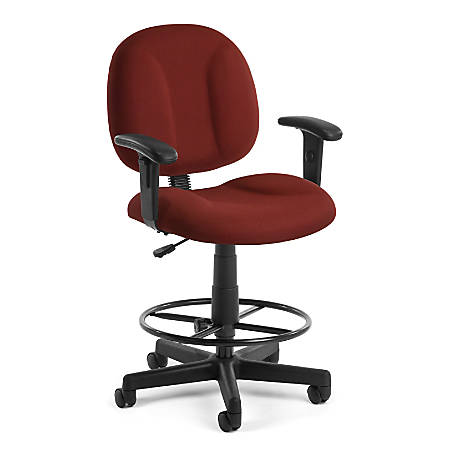OFM Comfort Series Superchair Task Chair With Drafting Kit, Wine/Black