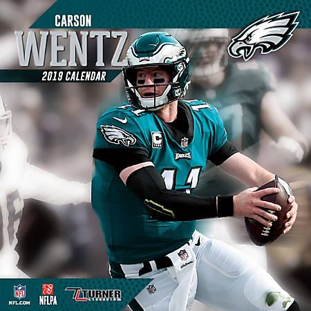 "Turner Sports Monthly Wall Calendar, 12"" x 12"", Philadelphia Eagles Carson Wentz, January to December 2019"